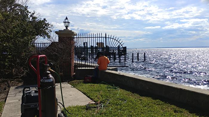 aluminum fence repair on the St. John's River