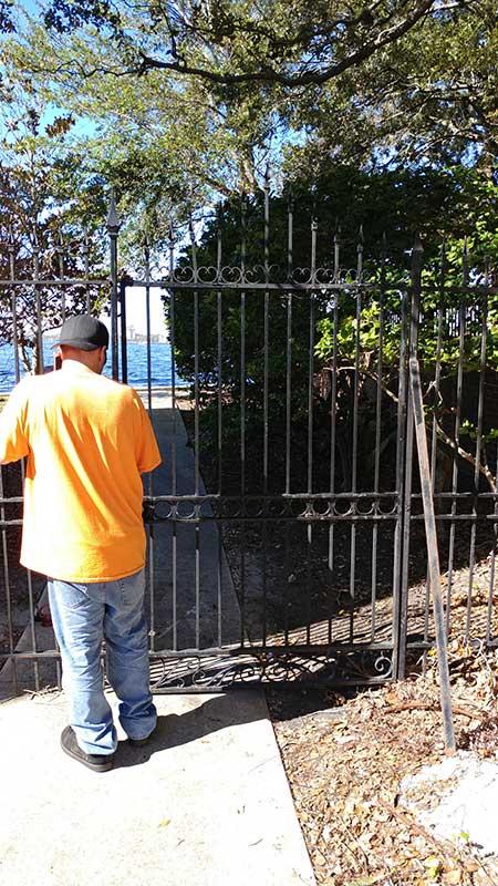 Steel security gate after welding repair